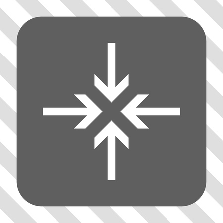concentrate: Reduce Arrows square icon. Vector pictogram style is a flat symbol centered in a rounded square button, white and gray colors, hatched diagonally transparent background.