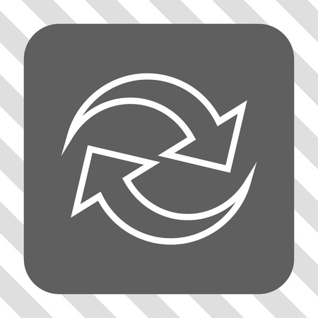 inverse: Refresh Arrows interface toolbar button. Vector pictograph style is a flat symbol inside a rounded square button, white and gray colors, hatched diagonally transparent background. Illustration