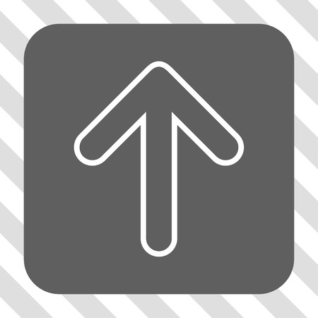 top pointer: Rounded Arrow Up rounded icon. Vector pictograph style is a flat symbol centered in a rounded square button, white and gray colors, hatched diagonally transparent background.