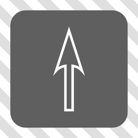 Bouton de la barre d'outils de l'interface flèche vers le haut. Style de pictogramme de vecteur est un symbole plat dans un bouton carré arrondi, les couleurs blanches et grises, fond transparent diagonalement hachuré.