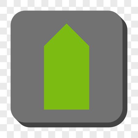 Bouton d'interface Direction Up. Style de pictogramme de vecteur est un symbole plat dans un bouton carré arrondi, couleurs vert clair et gris, fond transparent d'échecs.
