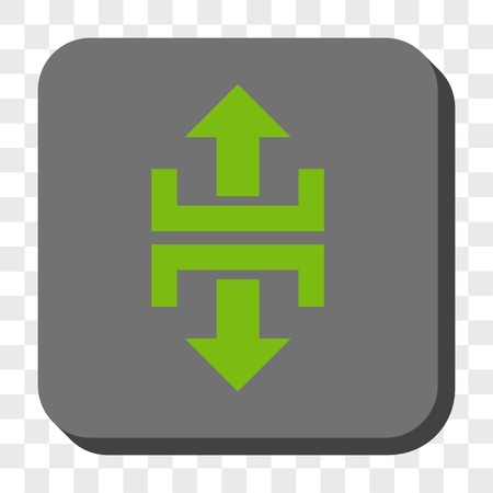 splitter: Divide Vertical Direction interface toolbar icon. Vector pictograph style is a flat symbol inside a rounded square button, light green and gray colors, chess transparent background.