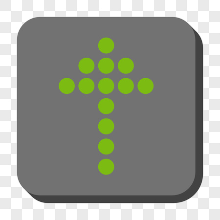 centered: Dotted Arrow Up rounded button. Vector pictograph style is a flat symbol centered in a rounded square button, light green and gray colors, chess transparent background. Illustration