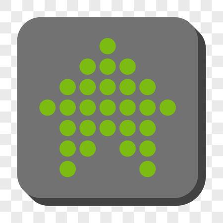 Dotted Arrow Icône de la barre d'outils. Style de pictogramme de vecteur est un symbole plat à l'intérieur d'un bouton carré arrondi, couleurs vert clair et gris, fond transparent d'échecs.