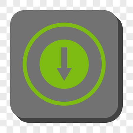 rounded: Down Rounded Arrow rounded icon. Vector pictogram style is a flat symbol inside a rounded square button, light green and gray colors, chess transparent background. Illustration