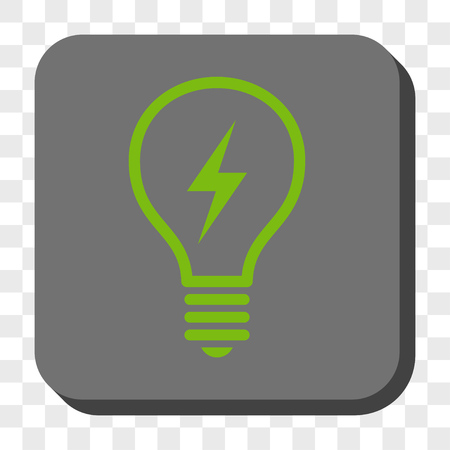 electric bulb: Electric Bulb rounded icon. Vector pictogram style is a flat symbol centered in a rounded square button, light green and gray colors, chess transparent background.