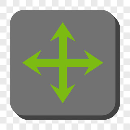 expand: Expand Arrows interface toolbar button. Vector pictogram style is a flat symbol centered in a rounded square button, light green and gray colors, chess transparent background.