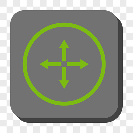 expand: Expand Arrows interface button. Vector pictogram style is a flat symbol in a rounded square button, light green and gray colors, chess transparent background.