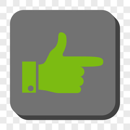Hand Pointer Right interface toolbar icon. Vector pictograph style is a flat symbol on a rounded square button, light green and gray colors, chess transparent background.