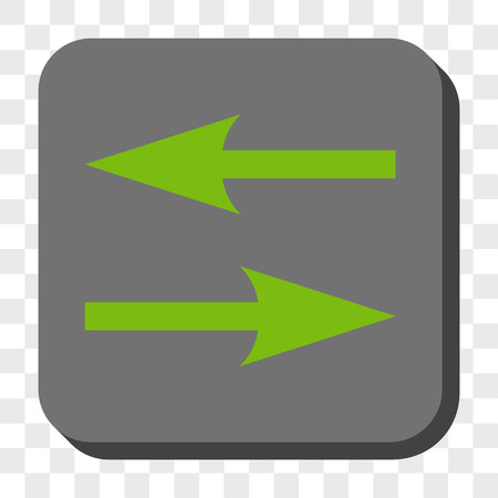inverse: Horizontal Exchange Arrows toolbar icon. Vector pictograph style is a flat symbol centered in a rounded square button, light green and gray colors, chess transparent background.