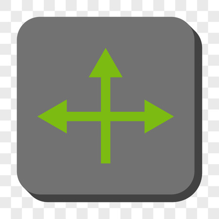 bifurcation: Intersection Directions toolbar button. Vector pictogram style is a flat symbol on a rounded square button, light green and gray colors, chess transparent background.