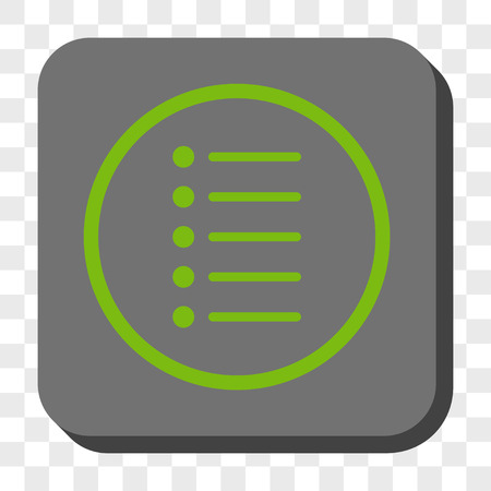 numerate: Items square icon. Vector pictograph style is a flat symbol inside a rounded square button, light green and gray colors, chess transparent background.