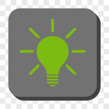 light emission: Light Bulb rounded button. Vector pictograph style is a flat symbol on a rounded square button, light green and gray colors, chess transparent background.