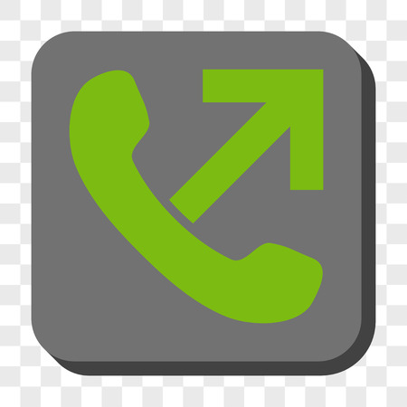 outgoing: Outgoing Call rounded icon. Vector pictogram style is a flat symbol in a rounded square button, light green and gray colors, chess transparent background. Illustration