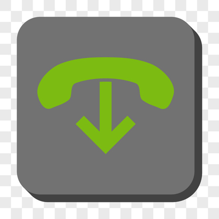 hang up: Phone Hang Up square button. Vector pictograph style is a flat symbol on a rounded square button, light green and gray colors, chess transparent background. Illustration