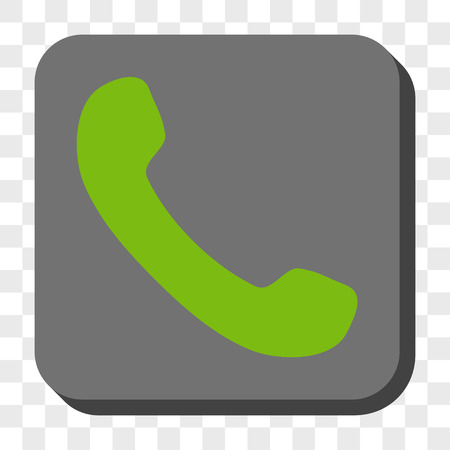 phone receiver: Phone Receiver interface toolbar icon. Vector pictogram style is a flat symbol centered in a rounded square button, light green and gray colors, chess transparent background.