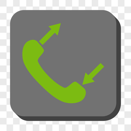 outgoing: Phone Talking interface toolbar button. Vector pictograph style is a flat symbol in a rounded square button, light green and gray colors, chess transparent background.