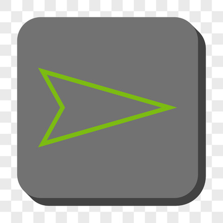 redirect: Pointer Right square icon. Vector pictograph style is a flat symbol in a rounded square button, light green and gray colors, chess transparent background.