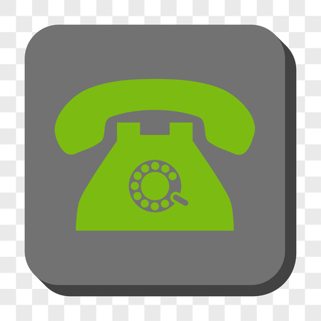 telephony: Pulse Phone toolbar icon. Vector pictogram style is a flat symbol on a rounded square button, light green and gray colors, chess transparent background.