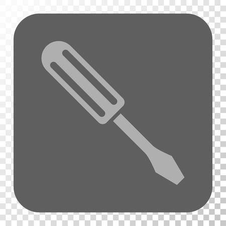 Screwdriver interface button. Vector pictogram style is a flat symbol inside a rounded square button, light gray and gray colors, chess transparent background.