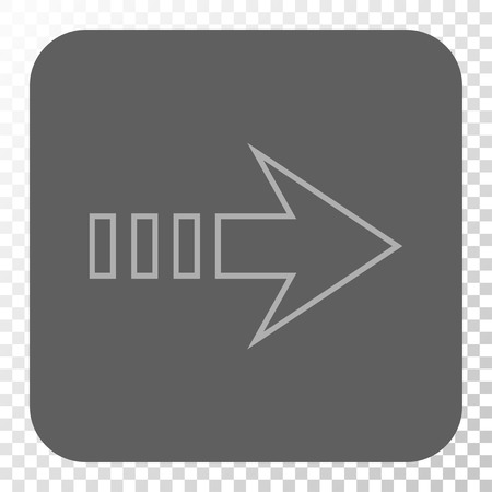 propel: Send Right toolbar icon. Vector pictogram style is a flat symbol inside a rounded square button, light gray and gray colors, chess transparent background. Illustration