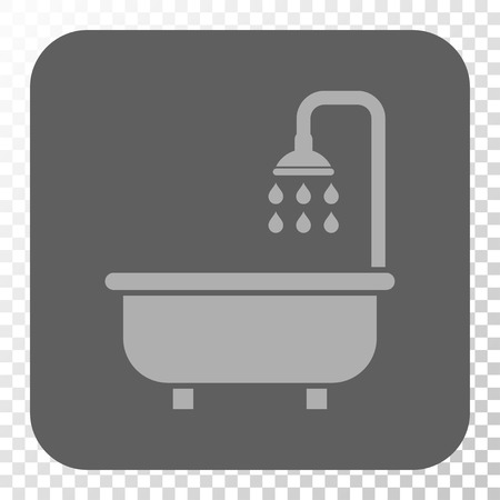 shower bath: Shower Bath interface toolbar icon. Vector pictogram style is a flat symbol inside a rounded square button, light gray and gray colors, chess transparent background. Illustration