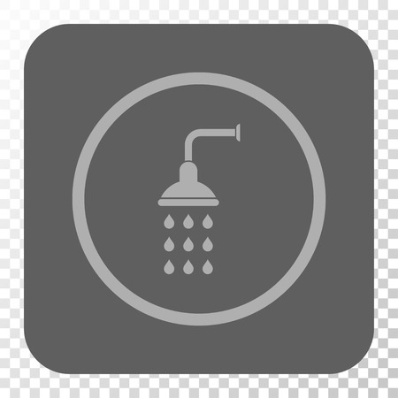 sanitize: Shower toolbar button. Vector pictograph style is a flat symbol in a rounded square button, light gray and gray colors, chess transparent background. Illustration
