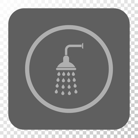 antiseptic: Shower rounded icon. Vector pictograph style is a flat symbol on a rounded square button, light gray and gray colors, chess transparent background. Illustration
