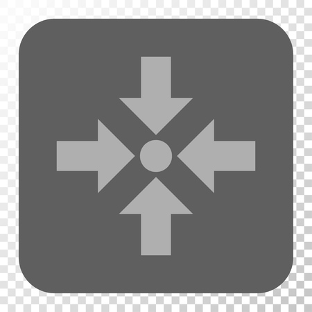shrink: Shrink Arrows square button. Vector pictogram style is a flat symbol inside a rounded square button, light gray and gray colors, chess transparent background. Illustration