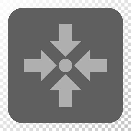 Shrink Pfeile Quadrat-Taste. Vector Piktogramm-Stil ist ein flaches Symbol in einem gerundeten Quadrat-Taste, hellgrau und grauen Farben, Schach transparentem Hintergrund.