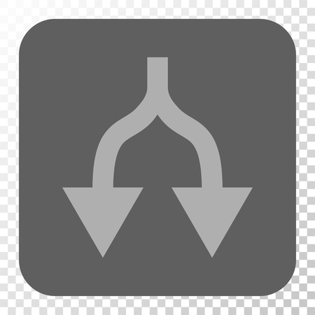 Split Arrows Down toolbar button. Vector pictograph style is a flat symbol in a rounded square button, light gray and gray colors, chess transparent background.