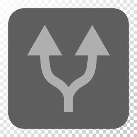 vertical divider: Split Arrows Up square button. Vector pictograph style is a flat symbol in a rounded square button, light gray and gray colors, chess transparent background.