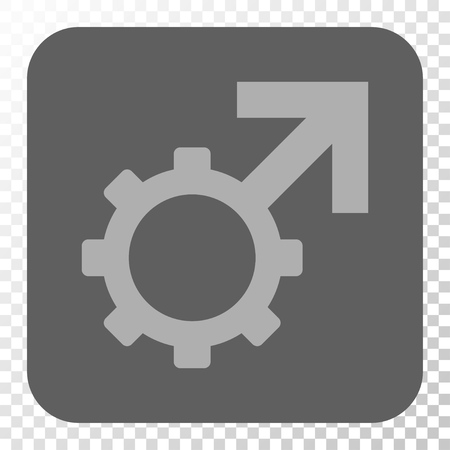erection: Technological Potence interface toolbar icon. Vector pictograph style is a flat symbol on a rounded square button, light gray and gray colors, chess transparent background.