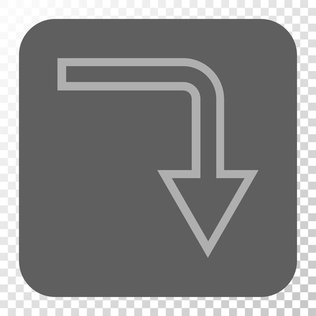turn down: Turn Down rounded icon. Vector pictogram style is a flat symbol in a rounded square button, light gray and gray colors, chess transparent background.