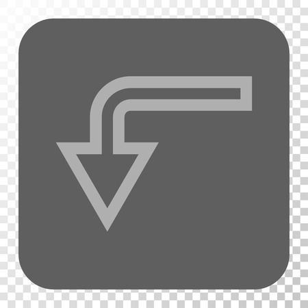 turn down: Turn Down square icon. Vector pictograph style is a flat symbol on a rounded square button, light gray and gray colors, chess transparent background.