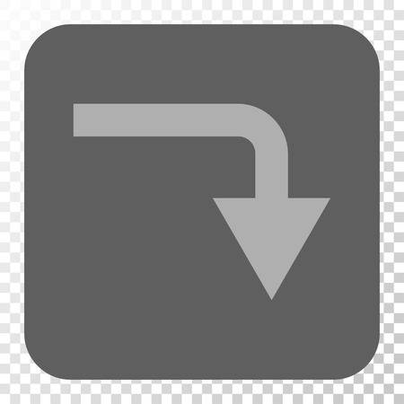 turn down: Turn Down interface toolbar button. Vector pictogram style is a flat symbol on a rounded square button, light gray and gray colors, chess transparent background.