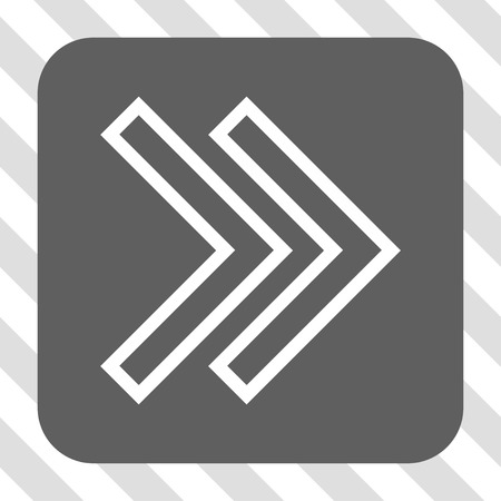 redirect: Shift Right interface icon. Vector pictogram style is a flat symbol centered in a rounded square button, white and gray colors, hatched diagonally transparent background.