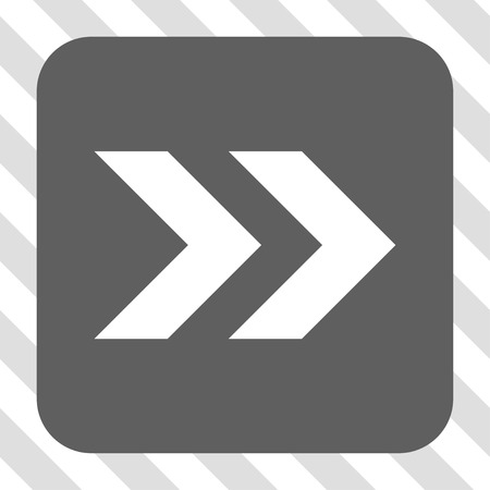diagonally: Shift Right square icon. Vector pictogram style is a flat symbol centered in a rounded square button, white and gray colors, hatched diagonally transparent background. Illustration