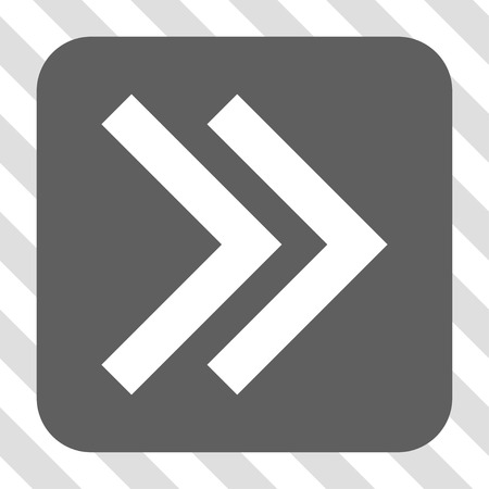 redirect: Shift Right square button. Vector pictograph style is a flat symbol centered in a rounded square button, white and gray colors, hatched diagonally transparent background.