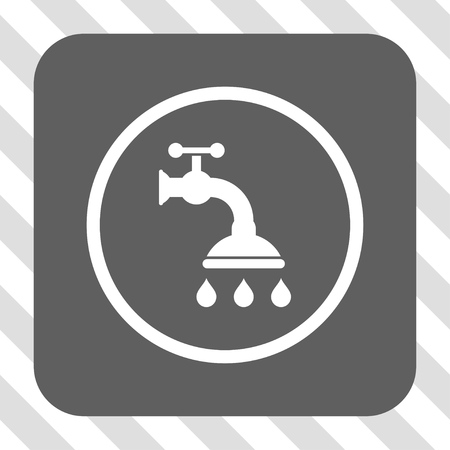 diagonally: Shower Tap toolbar icon. Vector pictograph style is a flat symbol on a rounded square button, white and gray colors, hatched diagonally transparent background.