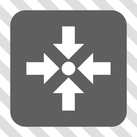 shrink: Shrink Arrows toolbar button. Vector pictograph style is a flat symbol in a rounded square button, white and gray colors, hatched diagonally transparent background.