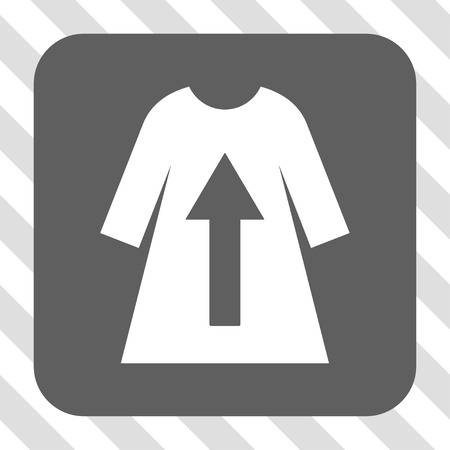 transparent dress: Take Off Female Dress square button. Vector pictograph style is a flat symbol in a rounded square button, white and gray colors, hatched diagonally transparent background.