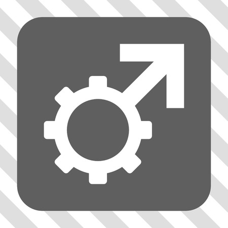 erection: Technological Potence rounded icon. Vector pictogram style is a flat symbol in a rounded square button, white and gray colors, hatched diagonally transparent background.