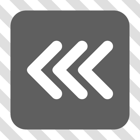triple: Triple Arrowhead Left square icon. Vector pictograph style is a flat symbol centered in a rounded square button, white and gray colors, hatched diagonally transparent background. Illustration