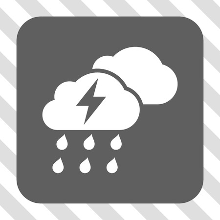 diagonally: Thunderstorm Clouds toolbar button. Vector pictogram style is a flat symbol in a rounded square button, white and gray colors, hatched diagonally transparent background. Illustration