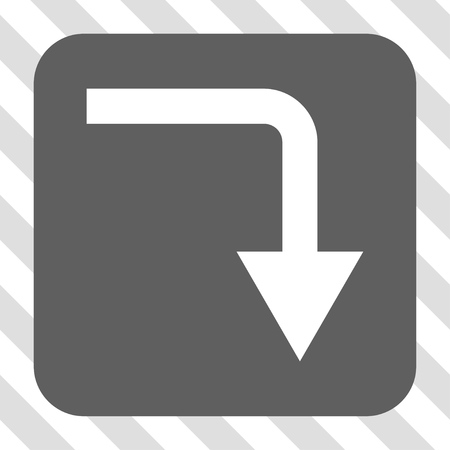 turn down: Turn Down rounded icon. Vector pictogram style is a flat symbol on a rounded square button, white and gray colors, hatched diagonally transparent background.