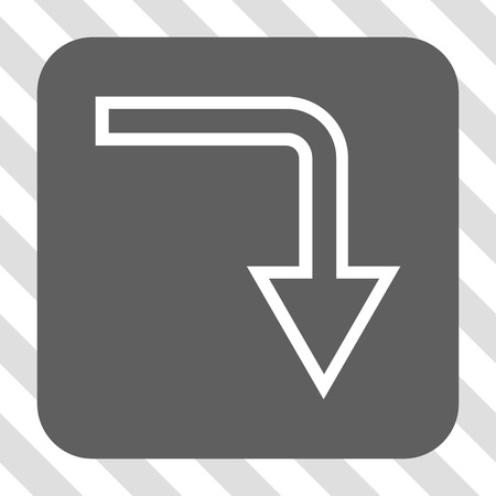 turn down: Turn Down interface button. Vector pictogram style is a flat symbol centered in a rounded square button, white and gray colors, hatched diagonally transparent background. Illustration