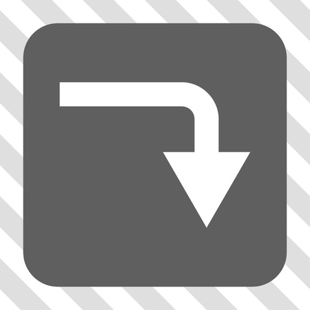 turn down: Turn Down square button. Vector pictogram style is a flat symbol inside a rounded square button, white and gray colors, hatched diagonally transparent background.