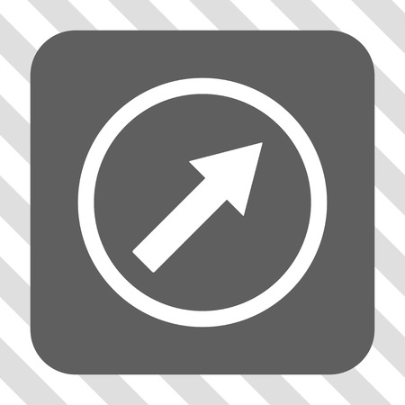 northeast: Up-Right Rounded Arrow interface toolbar icon. Vector pictograph style is a flat symbol inside a rounded square button, white and gray colors, hatched diagonally transparent background.