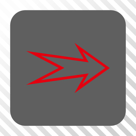 redirect: Arrow Right rounded button. Vector pictograph style is a flat symbol in a rounded square button, red and gray colors, hatched diagonally transparent background.